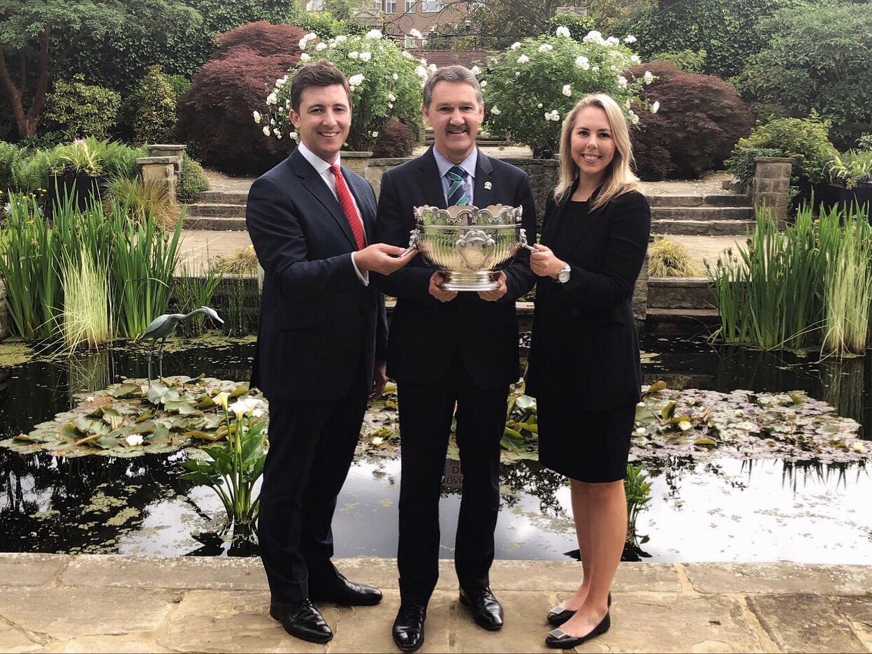 Tim Nagel of Integro, Marc Newey of Roehampton Club, and Emma Gowdie of AFEX with the GANT Championships trophy